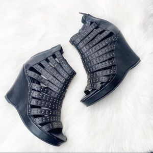 Jeffrey Campbell Studded Caged Wedge Heel Sandals